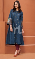 Embroidered Stitched Lawn Frock and Trouser- 2PC