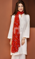 White Embroidered Stitched Jacquard Shirt and Dupatta- 2PC