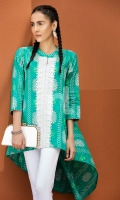 Green Embroidered Stitched Lawn Frock- 1PC