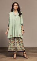 Dyed Embroidered Stitched Lawn Frock & Printed Trouser - 2PC