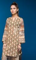 Beige Digital Printed Stitched Lawn Shirt- 1PC