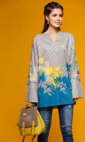 Grey Embroidered Stitched Lawn Shirt- 1PC