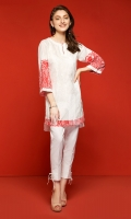 White Embroidered Stitched Lawn Shirt- 1PC