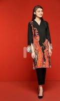 Black Digital Printed Stitched Lawn Shirt- 1PC
