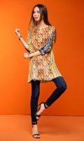 Yellow Embroidered Stitched Lawn Shirt- 1PC
