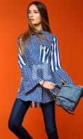 Blue Digital Printed Stitched Lawn Shirt - 1PC