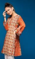 Orange Digital Printed Stitched Lawn Shirt- 1PC