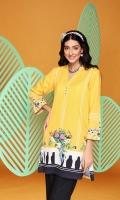 Digital Printed Embroidered Stitched Cotton Karandi Shirt With Mask - 1PC