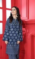 Printed Stitched Cotton Karandi Shirt & Trouser With Mask- 2PC