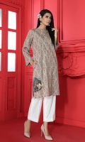 Printed Embroidered Stitched Karandi Shirt With Mask - 1PC