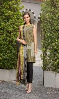 - Printed Lawn Shirt: 3 Mtr  - Printed Rib Voil Dupatta: 2.5 Mtr  - Dyed Cambric Trouser: 2.5 Mtr