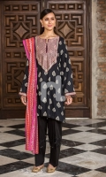 - Printed Modal Dobby Shirt: 3 Mtr  - Printed Cotton Net Dupatta: 2.5 Mtr  - Embroidered Neckline + Border (Patch)
