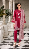 - Printed Modal Dobby Shirt: 3 Mtr  - Printed Cotton Net Dupatta: 2.5 Mtr  - Embroidered Border (Patch)