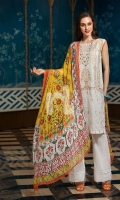 - Printed Slub Lawn Shirt: 3 Mtr  - Printed Crinkle Chiffon Dupatta: 2.5 Mtr  - Dyed Cambric Trouser: 2.5 Mtr                                                 - Embroidered Front