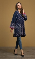 Navy Printed Stitched Karandi Shirt - 1PC