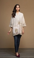 Beige Digital Printed Stitched Khaddar Shirt - 1PC