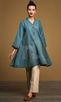 Blue Printed Stitched Karandi Shirt - 1PC