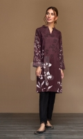 Maroon Digital Printed Embroidered Stitched Cotton Karandi Shirt - 1PC