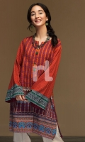 Orange Printed Stitched Cotton Karandi Shirt - 1PC