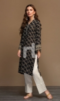 Black Digital Printed Stitched Linen Shirt - 1PC