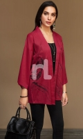 Red Dyed Embroidered Stitched Slub Lawn Jacket - 1PC