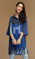 Blue Digital Printed Stitched Cotton Karandi Shirt - 1PC