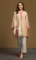 Skin Printed Embroidered Stitched Karandi Shirt - 1PC