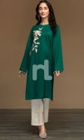 Green Dyed Embroidered Stitched Slub Lawn Shirt - 1PC