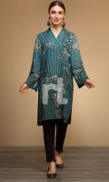Green Digital Printed Stitched Linen Shirt - 1PC