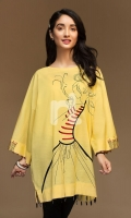 Yellow Dyed Embroidered Stitched Slub Lawn Shirt - 1PC