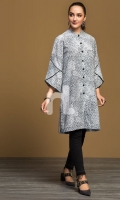 Grey Digital Printed Stitched Khaddar Shirt - 1PC