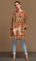 Brown Digital Printed Stitched Cotton Karandi Shirt - 1PC