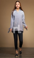 Blue Dyed Stitched Cotton Linear Top - 1PC