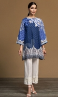 Blue Digital Printed Embroidered Stitched Khaddar Shirt - 1PC