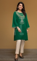 Green Embroidered Stitched Yarn Dyed Shirt - 1PC