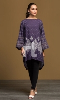 Purple Digital Printed Embroidered Stitched Khaddar Shirt - 1PC