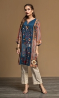 Blue Digital Printed Embroidered Stitched Linen Shirt - 1PC