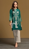 Green Printed Embroidered Stitched Karandi Shirt - 1PC