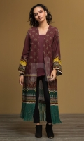 Maroon Printed Stitched Khaddar Jacket & Dyed Camisole - 1PC