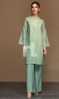 Sea Green Dyed Embroidered Stitched Slub Lawn Shirt - 1PC