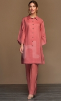 Pink Dyed Embroidered Stitched Slub Lawn Shirt - 1PC