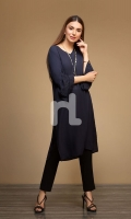 Navy Blue Plain Dyed Stitched Straight Viscose & Cotton Shirt - 1PC