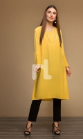 Yellow Plain Dyed Stitched Straight Viscose & Cotton Shirt - 1PC
