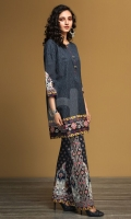 Blue Printed Stitched Khaddar Shirt & Printed Trouser - 2PC
