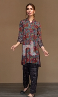 Red Printed Stitched Cotton Karandi Shirt & Printed Shalwar - 2PC
