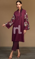 Maroon Dyed Embroidered Stitched Slub Lawn Shirt - 1PC