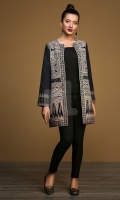 Black Printed Stitched Khaddar Jacket - 1PC