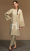 Gold Dyed Embroidered Stitched Slub Cotton Shirt - 1PC
