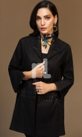 Black Dyed Embroidered Stitched Slub Cotton Jacket - 1PC
