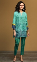 Green Printed Embroidered Stitched Karandi Shirt & Printed Trouser - 2PC